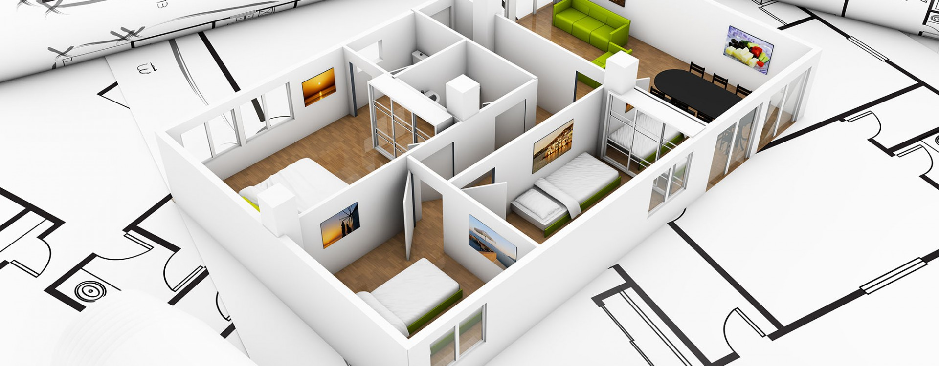 a flat mockup over plots, interior design concept